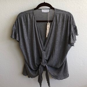 Mustard Seed NWT Gray Top, Front-tie, Sz M